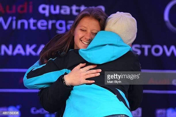Second place Stephanie Jallen of the United States and first place Melanie Schwartz of the United States pose during the medal ceremony for the Women...
