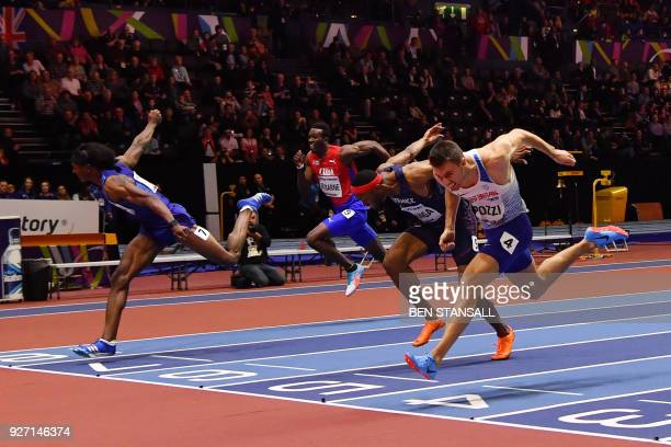 Second place, US athlete Jarret Eaton , third place, France's Aurel Manga and winner, Britain's Andrew Pozzi hit the line at the end of the men's 60m...