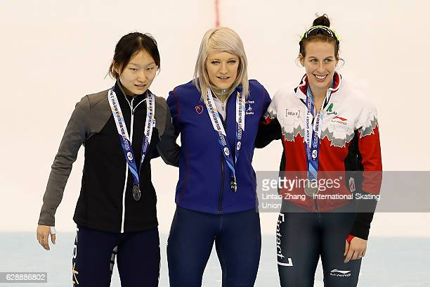 Second place winner Choi Min Jeong of South Korea First place winner Elise Christie of Britain and Third place winner Marianne StGelais of Canada...