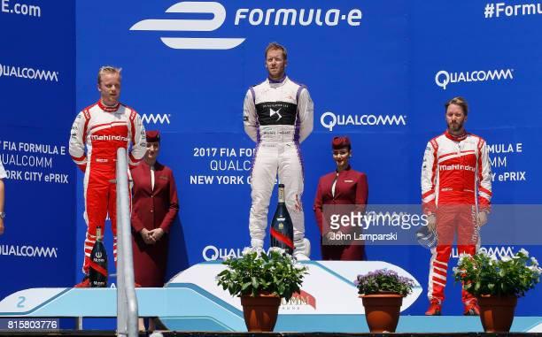 Second place winner Felix Rosenqvist from,Machindra Racing, first place winner Sam Bird from Virgin Racing and third place winner Nick Heidfeld from...