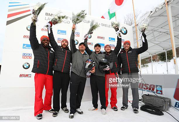 Second place winners Justin Kripps and Jesse Lumsden first place winners Steven Holcomb and Samuel McGuffie and third place Chris Spring and...