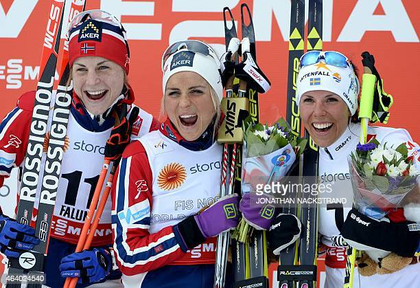 Second placed Astrid Uhrenholdt Jacobsen of Norway winner Therese Johaug of Norway third placed Charlotte Kalla of Sweden pose during a flower...