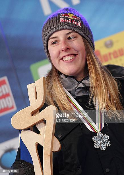 Second placed Britain's Katie Summerhayes celebrates on the podium after the Women's Ski Slopestyle Finals of FIS Freestyle and Snowboarding World...