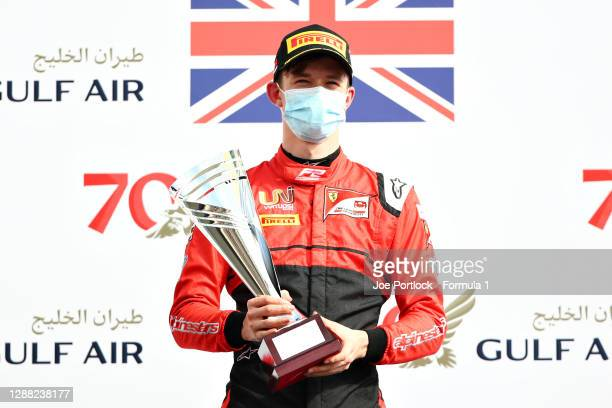 Second placed Callum Ilott of Great Britain and UNI-Virtuosi Racing celebrates on the podion track during the Round 11:Sakhir Feature Race of the...