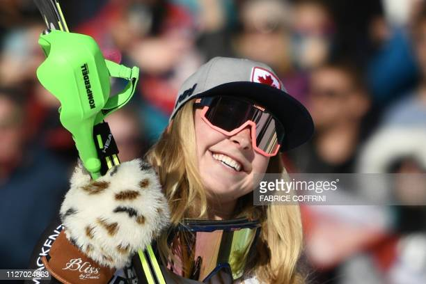 Second placed Canada's Roni Remme celebrates after competing in the two rounds of the Women's Alpine Combined race during the FIS Alpine Ski World...