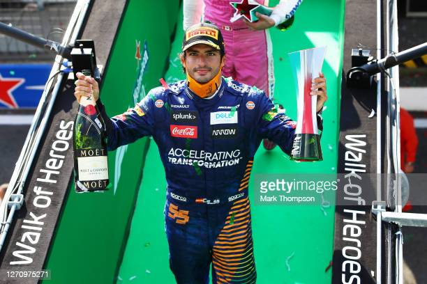 Second placed Carlos Sainz of Spain and McLaren F1 celebrates on the podium during the F1 Grand Prix of Italy at Autodromo di Monza on September 06,...