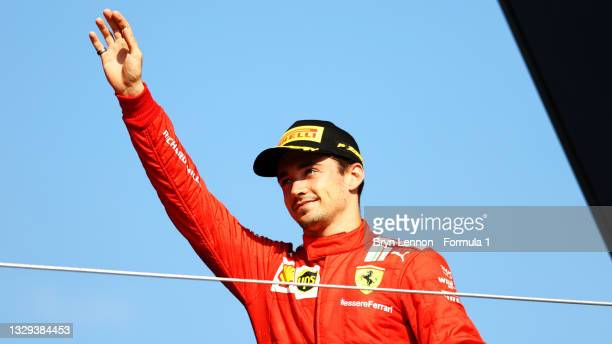 Second placed Charles Leclerc of Monaco and Ferrari celebrates on the podium during the F1 Grand Prix of Great Britain at Silverstone on July 18,...