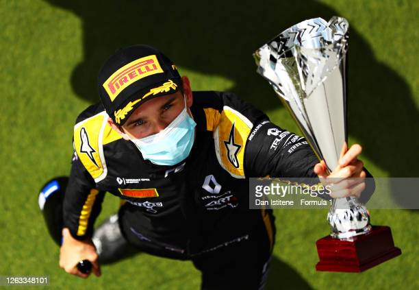 Second placed Christian Lundgaard of Denmark and ART Grand Prix celebrates on the podium during the sprint race for the Formula 2 Championship at...