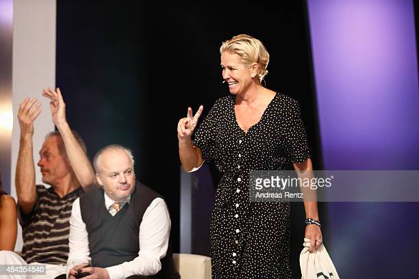Second placed Claudia Effenberg reacts during the Promi Big Brother finals at Coloneum on August 29 2014 in Cologne Germany