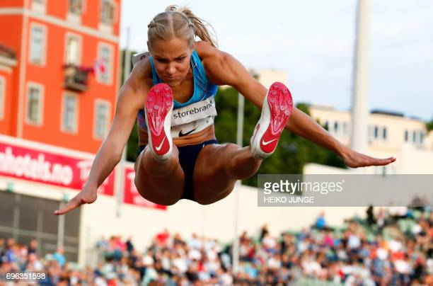 Second placed Darya Klishina competes in the women's long jump at the Golden League Bislett Games at Bislett stadium in Olso on June 152017 Scanpix /...