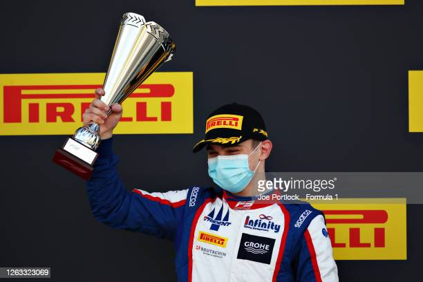 Second placed David Beckmann of Germany and Trident celebrates on the podium during race two of the Formula 3 Championship at Silverstone on August...