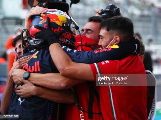Second placed Dennis Hauger of Norway and Prema Racing celebrates winning the 2021 Formula 3 Championship with his team during race one of Round...