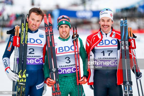 Second placed Emil Iversen of Norway winner Federico Pellegrino of Italy and third placed Alex Harvey of Canada pose after the men´s Cross Country...