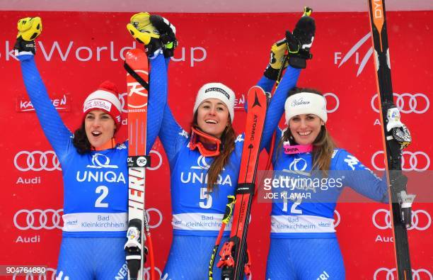 Second placed Federica Brignone of Italy winner Sofia Goggia of Italy and third placed Nadia Fanchini of Italy celebrate on the podium of the FIS...
