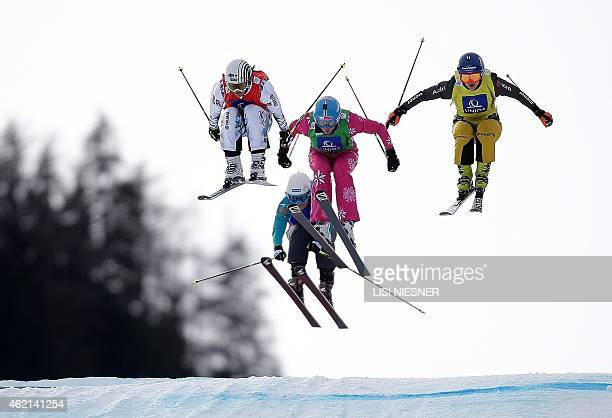 Second placed France's Ophelie David Czech Republic's Andrea Zemanova Poland's Karolina Riemen and fourth placed Germany's Julia Eichinger jump into...