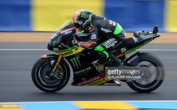 TOPSHOT Second placed France's rider Johann Zarco competes on his Monster Yamaha TECH 3 MOTOGP N°5 during the MotoGP race of the French Motorcycle...
