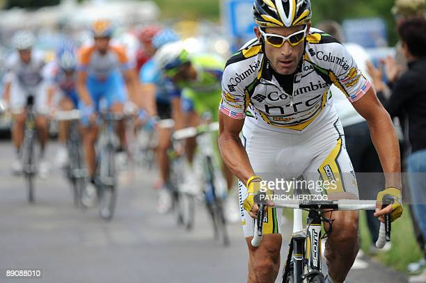 Second placed in the overall standings US cycling Team ColumbiaHigh Road 's George Hincapie of the United States rides in the breakaway on July 18...