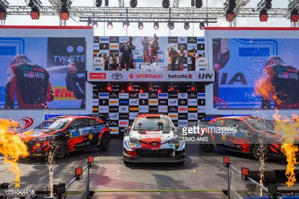 Second placed Ireland's driver Craig Breen and Ireland's co-driver Paul Nagle in their Hyundai i20 Coupe WRC car, winners Finland's driver Kalle...