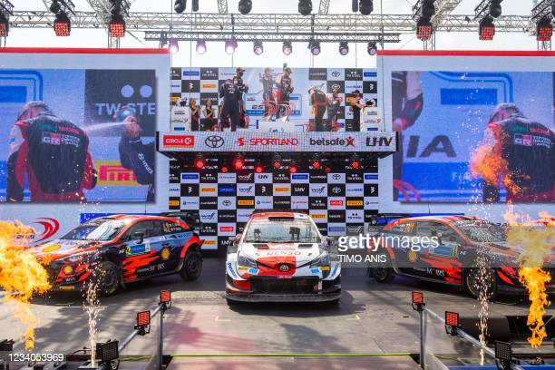 Second placed Ireland's driver Craig Breen and Ireland's co-driver Paul Nagle , winners Finland's driver Kalle Rovanpera and Finland's co-driver...