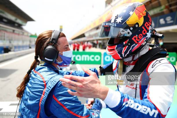 Second placed Jack Doohan of Australia and Trident celebrates in parc ferme during race 3 of Round 1:Barcelona of the Formula 3 Championship at...