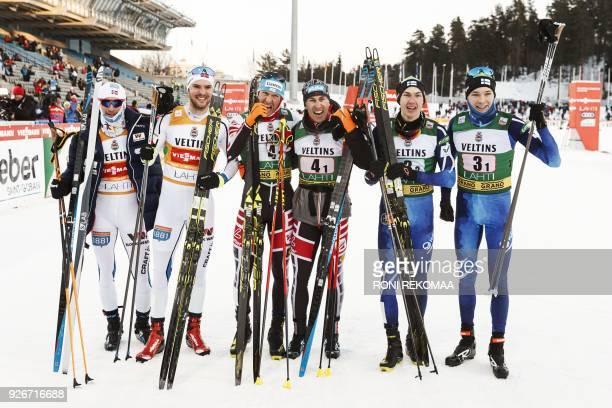 second placed Jan Schmid ja and Joergen Graabak of Norway winners Bernhard Gruber and Wilhelm Denifl of Austria and third placed Ilkka Herola and...