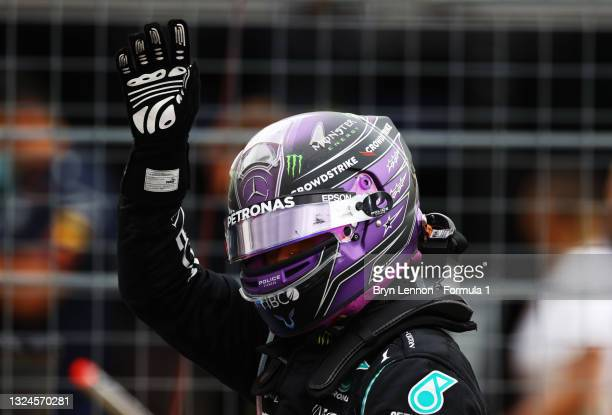 Second placed Lewis Hamilton of Great Britain and Mercedes GP celebrates in parc ferme during the F1 Grand Prix of France at Circuit Paul Ricard on...