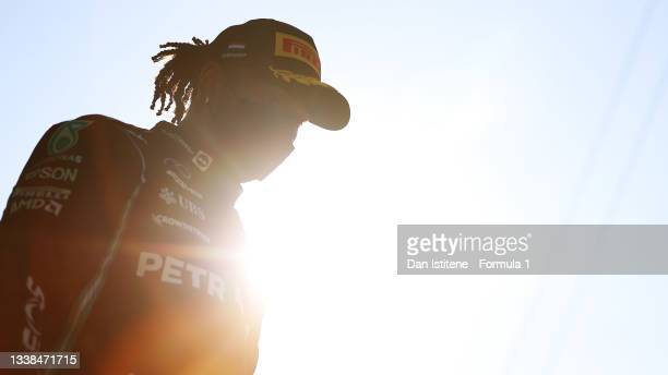 Second placed Lewis Hamilton of Great Britain and Mercedes GP looks on in parc ferme during the F1 Grand Prix of The Netherlands at Circuit Zandvoort...