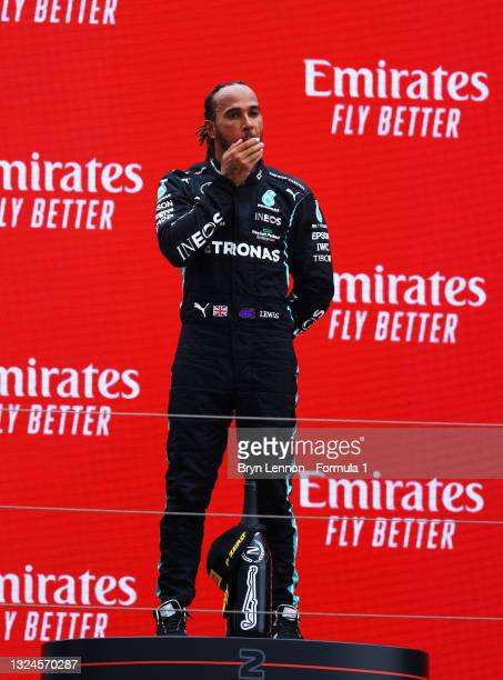 Second placed Lewis Hamilton of Great Britain and Mercedes GP celebrates on the podium during the F1 Grand Prix of France at Circuit Paul Ricard on...