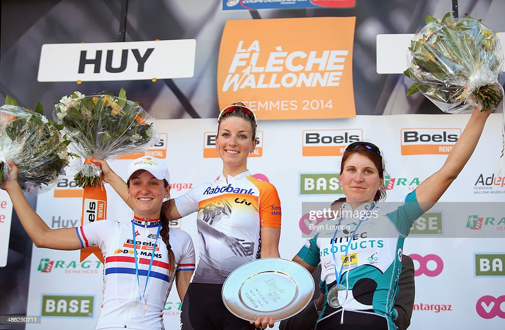 Second placed Lizzie Armitstead of Great Britain and Boels-Dolmans Cycling Team, winner Pauline Ferrand-Prevot of France and Rabobank-Liv and third placed Elisa Longo Borghini of Italy and Team Hitec Products pose on the podium after the 17th edition of the La Fleche Wallonne Feminine on April 23, 2014 in Huy, Belgium. Part of the UCI Women's Road Cycling World Cup, the 127km parcours scales the famous Mur de Huy climb twice, with the final 9.3% average ascent providing the finish to the race.