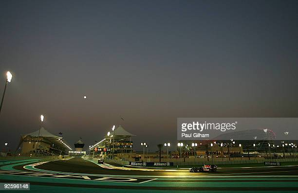 Second placed Mark Webber of Australia and Red Bull Racing drives during the Abu Dhabi Formula One Grand Prix at the Yas Marina Circuit on November 1...