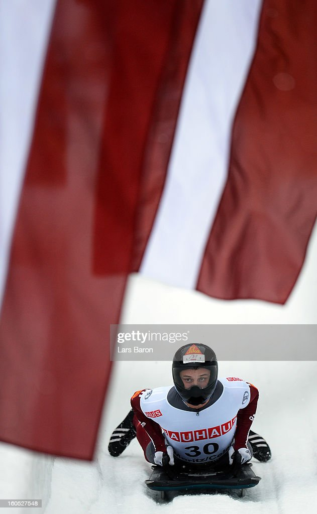 Second placed Martins Dukurs of Latvia is seen after the man's skeleton final heat of the IBSF Bob & Skeleton World Championship at Olympia Bob Run on February 2, 2013 in St Moritz, Switzerland.