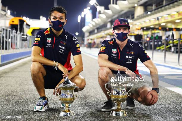 Second placed Max Verstappen of Netherlands and Red Bull Racing and third placed Alexander Albon of Thailand and Red Bull Racing celebrate with their...