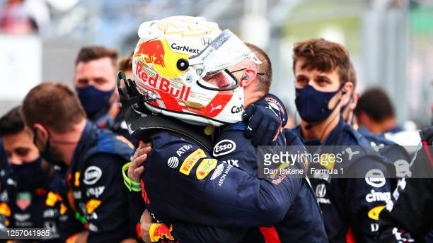 Second placed Max Verstappen of Netherlands and Red Bull Racing celebrates in parc ferme during the Formula One Grand Prix of Hungary at Hungaroring...