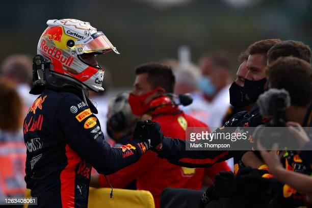 Second placed Max Verstappen of Netherlands and Red Bull Racing celebrates in parc ferme during the F1 Grand Prix of Great Britain at Silverstone on...