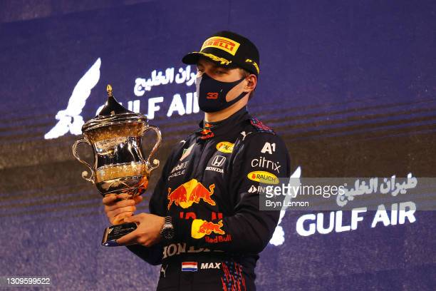 Second placed Max Verstappen of Netherlands and Red Bull Racing celebrates on the podium during the F1 Grand Prix of Bahrain at Bahrain International...
