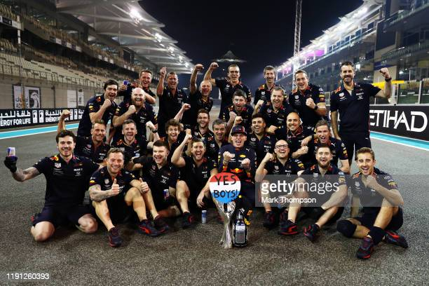 Second placed Max Verstappen of Netherlands and Red Bull Racing celebrates with his team after the F1 Grand Prix of Abu Dhabi at Yas Marina Circuit...