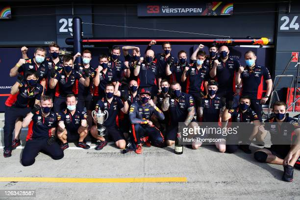 Second placed Max Verstappen of Netherlands and Red Bull Racing celebrates with his team after the F1 Grand Prix of Great Britain at Silverstone on...