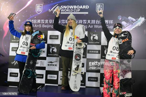 Second placed Miyabi Onitsuka of Japan winner Anna Gasser of Austria and third placed Laurie Blouin of Cananda stand on the podium on day two of 2018...