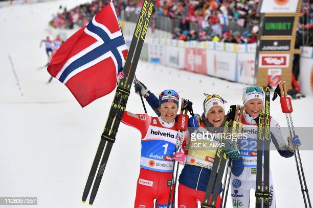 Second placed Norway's Ingvild Flugstad Oestberg winner Norway's Therese Johaug and third placed Sweden's Frida Karlsson celebrate after the...