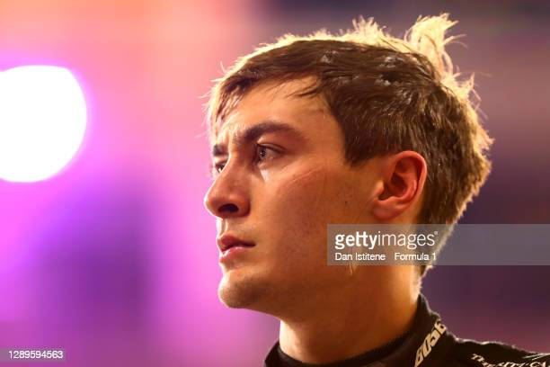 Second placed qualifier George Russell of Great Britain and Mercedes GP looks on in parc ferme during qualifying ahead of the F1 Grand Prix of Sakhir...
