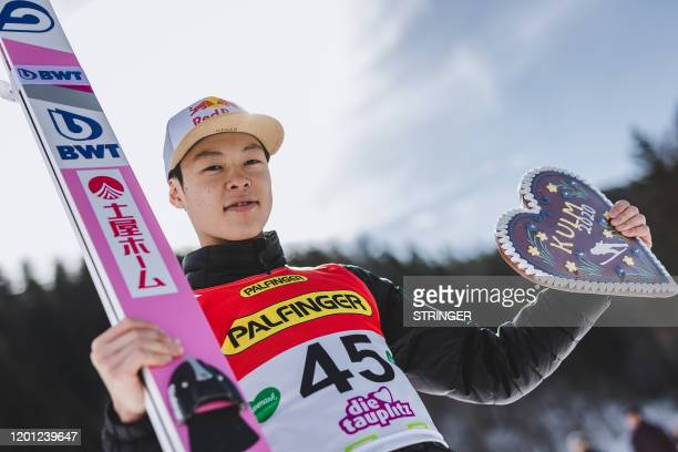 Second placed Ryoyu Kobayashi of Japan celebrates after the men's FIS Ski Flying World Cup at the Kulm in Bad Mitterndorf, Austria on February 16,...