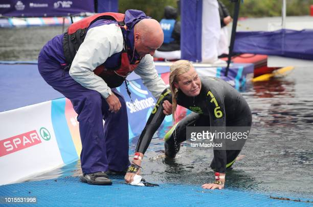Second placed Sharon van Rouwendaal of Netherlands is helped from the water during the Women's 25km Open Water Swimming on Day Eleven of the European...