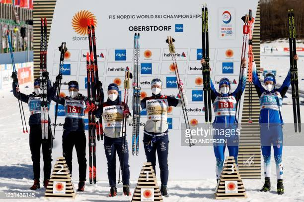 Second placed Switzerland's team, Laurien van der Graaff and Nadine Faehndrich, winners Sweden's team, Maja Dahlqvist and Jonna Sundling, and third...