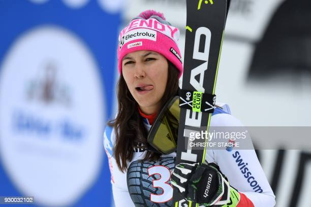 Second placed, Switzerland's Wendy Holdener reacts after the FIS World Cup Women's Slalom event in Ofterschwang, southern Germany, on March 10, 2018....