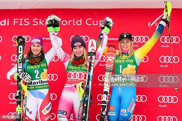 Second placed Switzerland's Wendy Holdener winner US skier Mikaela Shiffrin and third placed Sweden's Frida Hansdotter pose on the podium of the FIS...