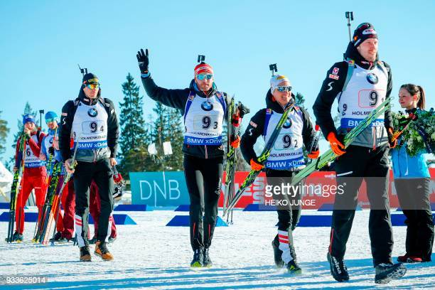 Second placed team Austria with Julian Eberhard Simon Eder Felix Leitner and Dominik Landertinger celebrate after the IBU Biathlon World Cup Men's...