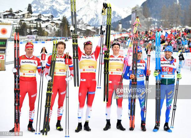 Second placed team from Russia Alexander Bolshunov and Gleb Retivykh winning team from Norway Johannes Hoesflot Klaebo and Emil Iversen and third...