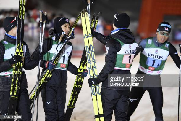 Second placed team Japan Hideaki Nagai Yoshito Watabe Go Yamamoto and Akito Watabe celebrate after the Men's Nordic Combined Team Competition at FIS...