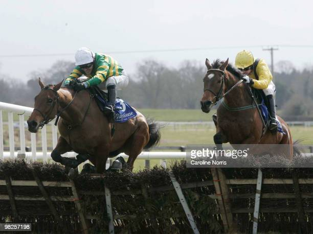 Second placed Tony McCoy on Head Of The Posse clears the last hurdle ahead of winner Ruby Walsh on Cousin Vinny during the Keelings Irish Strawberry...