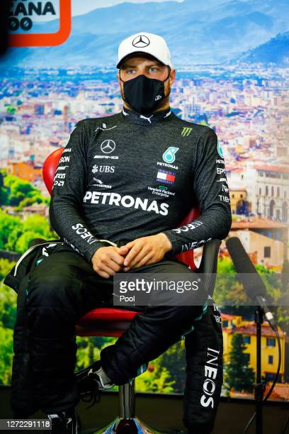 Second placed Valtteri Bottas of Finland and Mercedes GP talks in a press conference after the F1 Grand Prix of Tuscany at Mugello Circuit on...